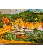 Michele Cascella, Barche di Portofino, serigrafia su lastra, 30x40 cm