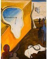 Carlo Massimo Franchi, Omaggio a Dalì. Gli orologi molli e le aggregazioni, olio su tela, 40x50 cm