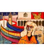 Carlo Massimo Franchi, Monica Vitti, tecnica mista su plexiglass opalino, 35,5x52x13 cm