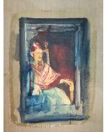 Enrico Pambianchi, Innocenzo X, collage, olio, acrilico, matite, gessetti, resine su carta, 24x30 cm