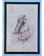 Giancarlo Prandelli, Isabella d'Este e Leonardo, china, inchiostro e sanguigna su cartoncino, 30x45cm (D224)