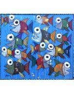 Yux, Ittico, acrilico pastelli a cera e manifesti su legno, 95x85 cm