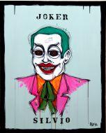 Yux, Joker Silvio, acrilico pastelli a cera, smalto e manifesti su tela, 80x100 cm