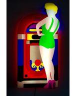 Marco Lodola, Juke Box, scatola (scultura) luminosa, 120x58x12cm, 2018