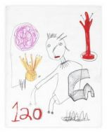 Paul Kostabi, One Hundred Twenty, Tecnica mista su carta, 35,5x28 cm, 2002