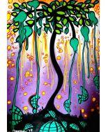 La Pupazza, L'albero delle peretartarughe, acrilico e spray su carta, 50x70 cm