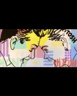 Andrew Tosh, La felicità negli occhi, acrilico su tela, 60x120 cm