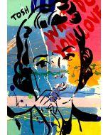 Andrew Tosh, La pensatrice, acrilico e smalto su carta, 48x33 cm