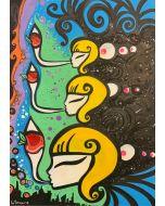 La Pupazza, Donna che soffia l'occhiomela, acrilico e spray su carta, 50x70 cm