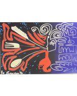 La Pupazza, Donna che soffia la cucina, grafica su PVC, 21X47 cm