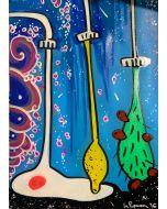 La Pupazza, I rubinetti magici, spray e acrilico su carta, 50x70 cm