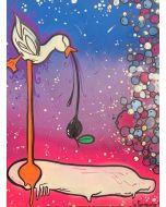 La Pupazza, L'uovoca, acrilico e spray su carta, 50x70 cm