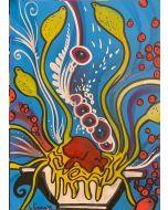 La Pupazza, Spaghettilimone, spray e acrilico su carta, 50x70 cm