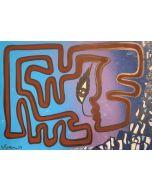 La Pupazza, Un'unica linea di donna, acrilico e spray su carta, 50x70 cm
