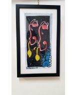 La Pupazza, Le brocche umane, acrilico e spray su carta, 25,5x42 cm (con cornice)
