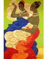 Salvatore Fiume, Le sorelle somale, serigrafia polimaterica d'aprés a 32 colori su broccato, 35x50 cm