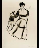 Marc Chagall, Mutter und sohn, incisione e puntasecca, tratta da Mein Leben, 1923, 45x36 cm (immagine 27,8x21,8 cm)