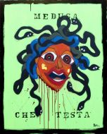 Yux, Medusa che testa, acrilico pastelli a cera, smalto e manifesti su tela, 80x100 cm