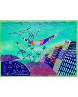 Meloniski da Villacidro, L'arca della felicità, serigrafia e collage ritoccata a mano su tela, 74x54,5 cm