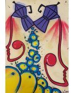 La Pupazza, Moke umane, acrilico e spray su carta, 50x70 cm
