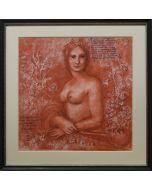 Giancarlo Prandelli, Mona Lisa con il volto del Salai, sanguigna ed inchiostro su cartoncino, 30x31cm (D233)
