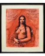 Giancarlo Prandelli, Mona Lisa nuda,  sanguigna ed inchiostro su cartoncino, 28x32cm (D234)