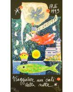 Francesco Musante, Viaggiatore nei cieli della notte, serigrafia polimaterica su carta nera, 16,9x10cm
