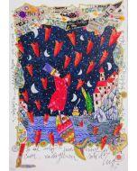 Francesco Musante, Se dal cielo piovessero cuori, serigrafia materica, 50x35 cm