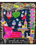 """Francesco Musante, L'amante del vino, serigrafia materica, 23x20 cm, tratta dalla serie """"I Mestieri"""""""