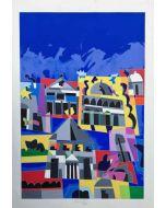 Ugo Nespolo, Paesaggio in blu, serigrafia polimaterica, 100x70 cm