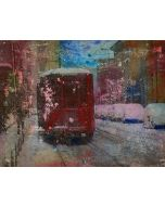Loris di Falco, Neve a Milano, tecnica mista, 20x26,5 cm