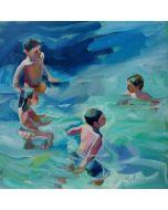 Claudio Malacarne, Children 2, olio su tela, 60x60 cm