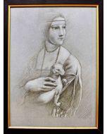 Giancarlo Prandelli, Omaggio alla Dama con l'ermellino, matita su cartoncino, 32,5x24cm (D57)