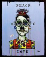 Yux, Peace&Love, acrilico, pastelli a cera, smalto e manifesti su tela, 80x100 cm