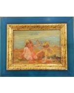 Daniela Penco, Bambini in spiaggia, olio su cartone telato, 13x18 cm (28x23cm con cornice)