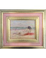 Daniela Penco, In spiaggia,  olio su cartone telato, 13x18cm (27x31,5 cm con cornice)