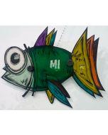 Yux, Fish, tecnica mista su alluminio, 46 cm