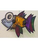 Yux, Fish, tecnica mista su alluminio, 26 cm