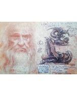 Giancarlo Prandelli, Leonardo, il drago ed il leone, sanguigna ed inchiostro su cartoncino, 45x30cm (D228)