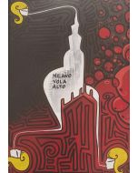 La Pupazza, Milano Vola Alto 1, acrilico e spray su carta, 50x70 cm