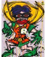 Yux, Roby Roby, acrilico, pastelli a cera e manifesti su tela, 30x40 cm