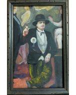 Scuola Francese, Borghese, Olio su tavola, 22x15 cm (con cornice)