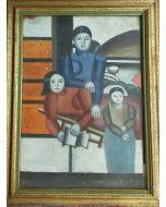 Scuola cubista, Donne, Olio su cartone, 41x31,3 cm (con cornice)