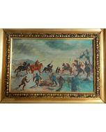 Scuola Espressionista Tedesca, Battaglia, Olio su tavola, 26,5x36,2 cm (con cornice)