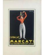 Curacao pubblicità vintage di Pietro Marcati, 24x32 cm (35x50 cm con passepartout)