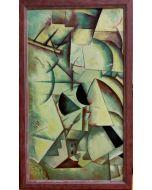 Scuola Cubista, Soggetto scomposto, Olio su tavola, 44,3x26,5 cm (con cornice)