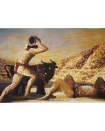 Salvatore Fiume, Eneide, Libro V, Entello vittorioso sacrifica il toro a Erice, litografia, 60x80 cm, 1989/90