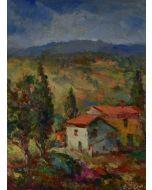 Antonio Sbrana, Colli, olio su tavola, 30x40 cm