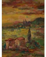 Antonio Sbrana, Tramonto, olio su tavola, 44x34 cm