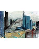 Alessandro Russo, Milano Nuovi Profili 2014, acrilico su cartone, 50x70 cm